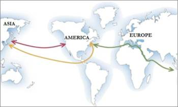 Esquema de les tres principals rutes marítimes
