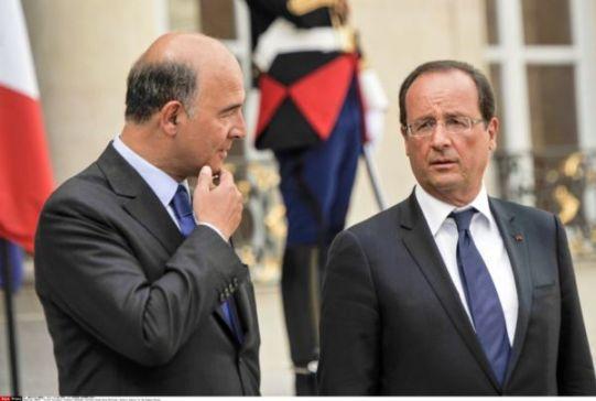 Pierre Moscovici, Ministre d'Economia francès i François Hollande, President de França  -  font: cesnulsquinousgouvernent.org