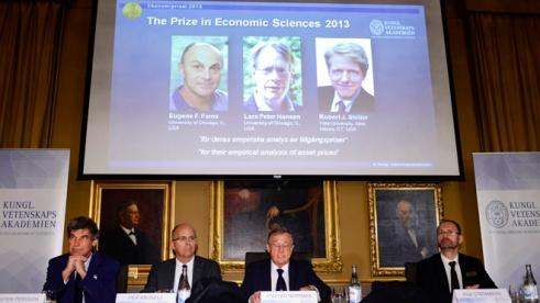 Moment de l'entrega del triple Premi Nobel, el passat 14 d'octubre de 2013. Font: Fox News.